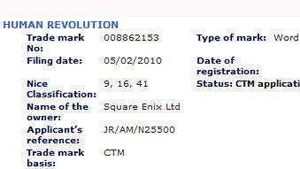 Square zastrzega nazwę Deus Ex: Human Revolution
