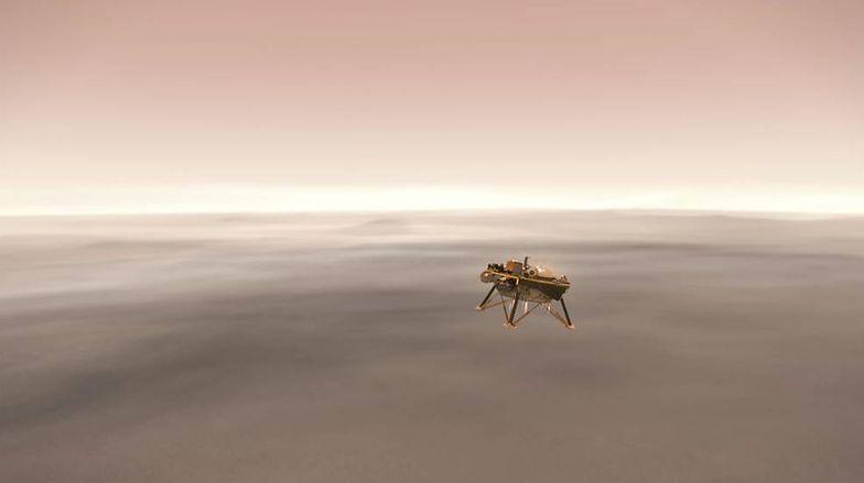 Wizualizacja lądowania sondy na powierzchni Marsa
