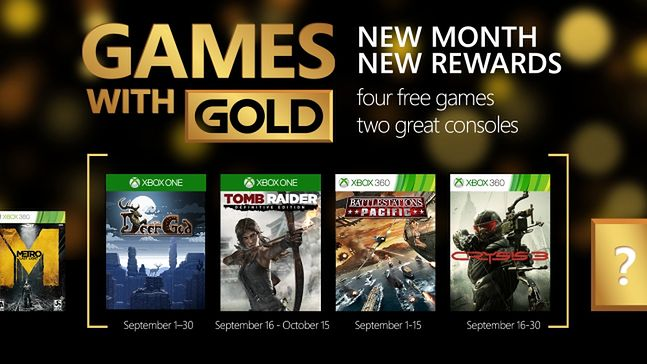 Wrześniowe Games With Gold to m.in. Tomb Raider i Crysis 3