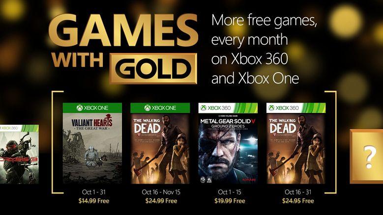 Październikowa oferta Games with Gold to Valiant Hearts, The Walking Dead i Metal Gear Solid V: Ground Zeroes