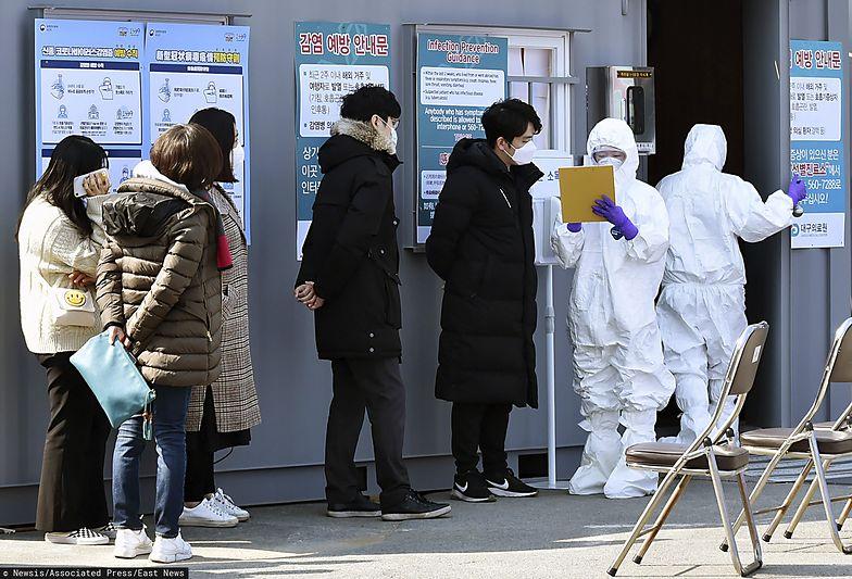 Daegu. Kolejka oczekujących na przebadanie na obecność koronawirusa