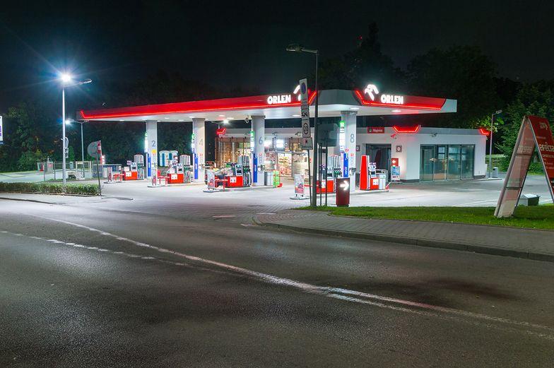 Gdansk, Poland - August 26, 2018: Orlen gas station at night.