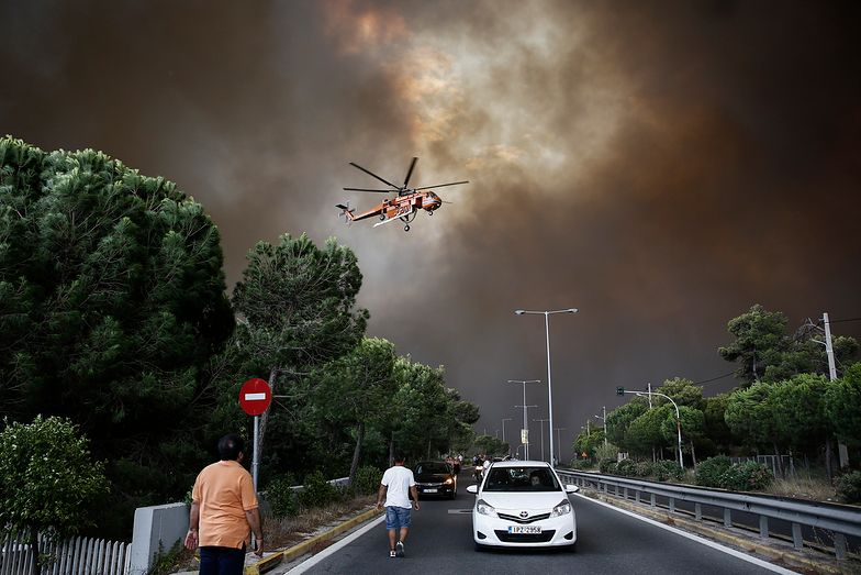 Pożar w pobliżu Aten