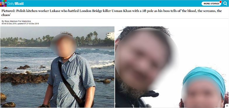 Atak na Moście Londyńskim. Kim jest Łukasz, Polak o którym mówi świat? Brytyjskie media ujawniły wizerunek