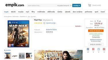 Empik sprzedawał Mad Maksa na PS4 za 129 zł. Po fali krytyki związanej z anulowaniem zamówień oferuje bony w wysokości 120 zł