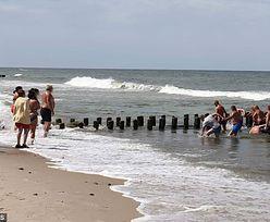 """Akcja ratunkowa na plaży pod Darłowem. Ludzie utworzyli """"łańcuch życia"""""""
