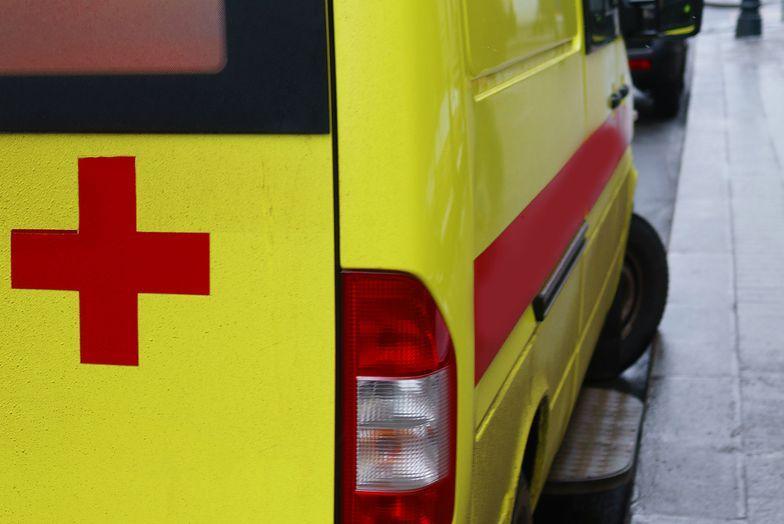 Red cross on yellow ambulance cars