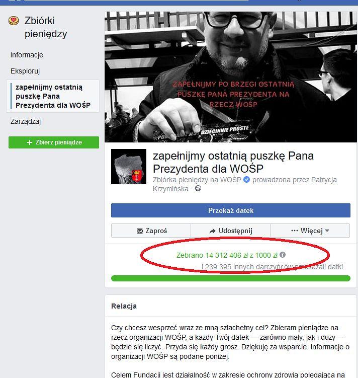 Kwota w wirtualnej puszce Pawła Adamowicza rosła w nieprawdopodobnym tempie