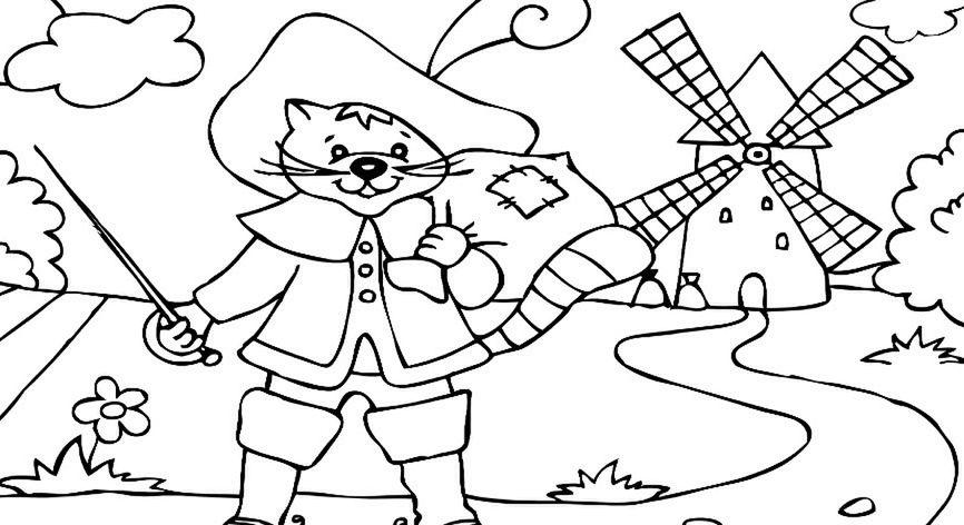 Kot w butach - kolorowanka
