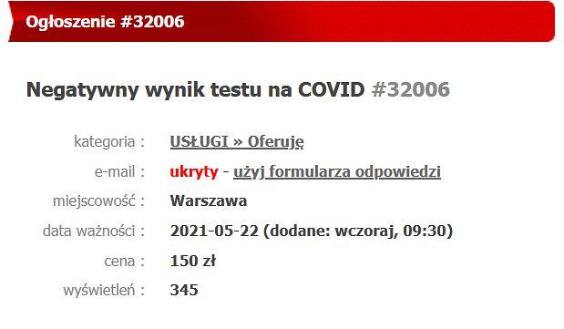 Fałszywy test na koronawirusa kosztuje 150 złotych