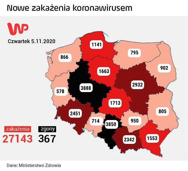 Nowa zakażenia koronawirusem 5 listopada 2020 r.
