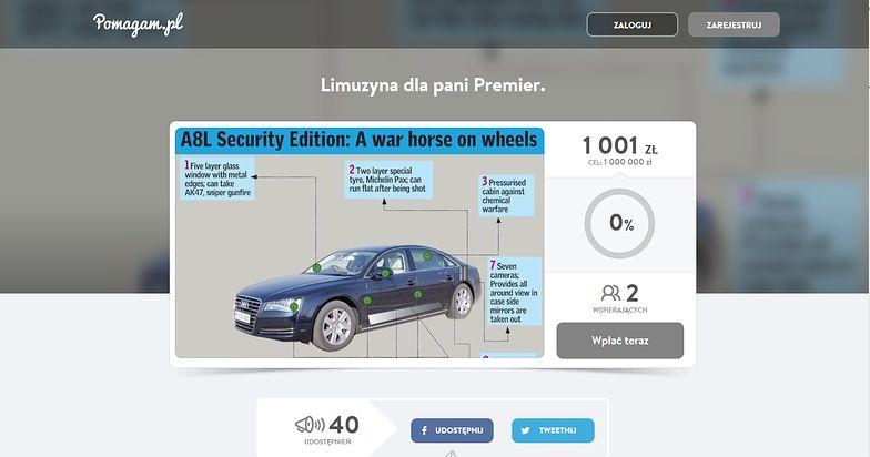 Zbiórka na limuzynę dla Beaty Szydło. Celują w milion