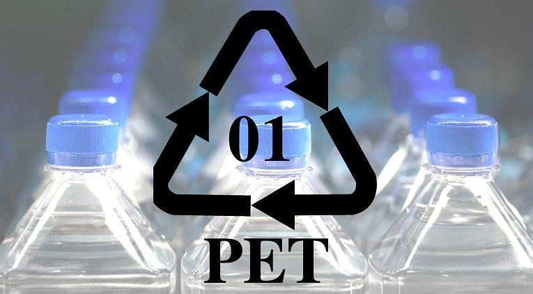 Oznaczenie 1-PET na plastikowych opakowaniach
