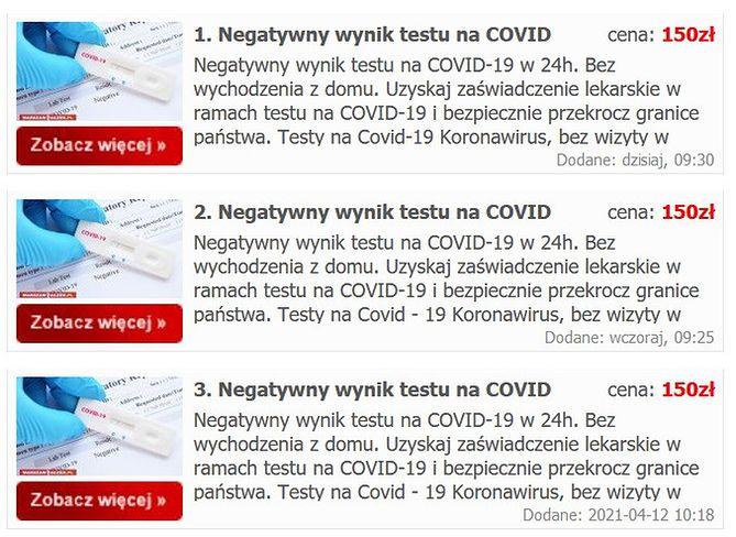 Nie jest trudno znaleźć ogłoszenie z fałszywymi testami w kierunku koronawirusa