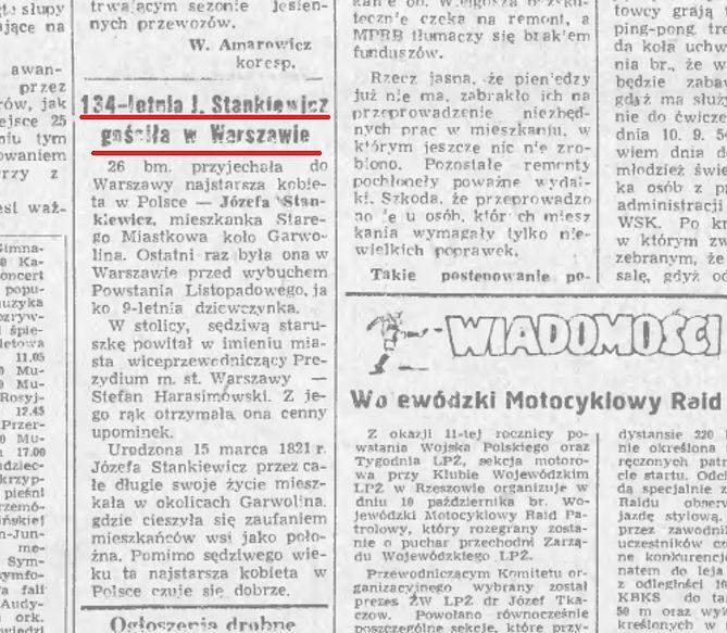 Niewielki artykuł dotyczący wizyty pani Stankiewicz w Warszawie (Podkarpacka Biblioteka Cyfrowa)