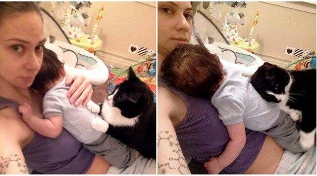 Kociczka z właścicelką i noworodkiem