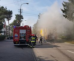 Pożar sam przyjechał pod budynek straży pożarnej